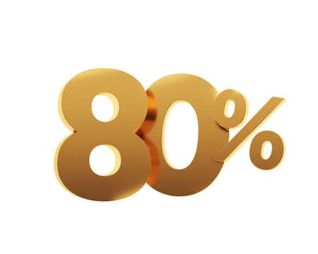 Golden eighty percent on white background. 3d render illustration.