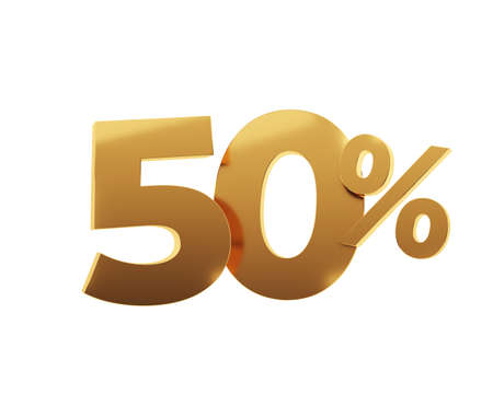 Golden fifty percent on white background. 3d render illustration.