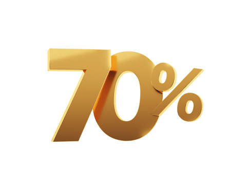 Golden seventy percent on white background. 3d render illustration.
