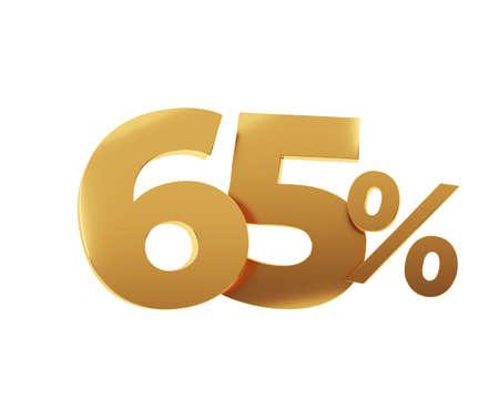 Golden sixty five percent on white background. 3d render illustration. Stockfoto