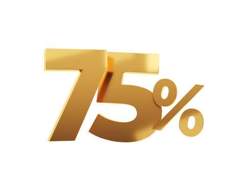 Golden seventy five percent on white background. 3d render illustration.