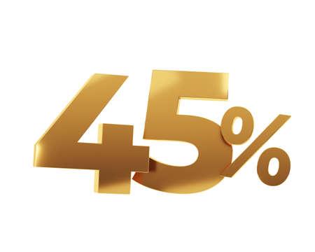 Golden fourty five percent on white background. 3d render illustration.