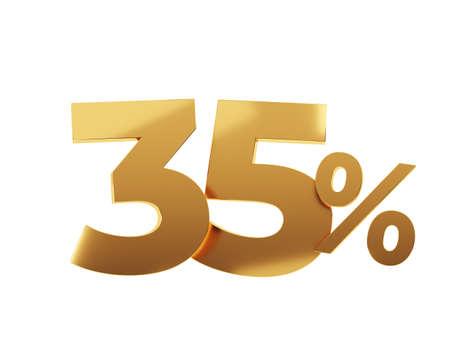 Golden thirty five percent on white background. 3d render illustration.