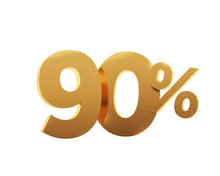 Golden ninety percent on white background. 3d render illustration.