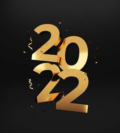 2022 Happy New Year. Golden numbers, 3d rendering.