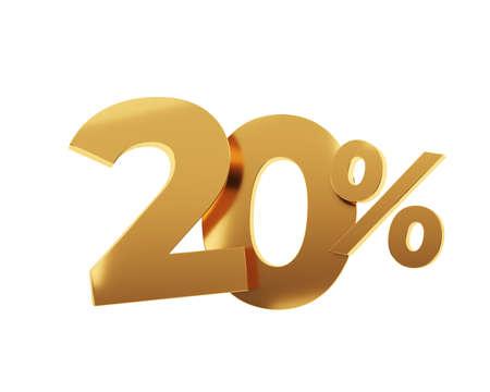 Golden twenty percent on white background. 3d render illustration.