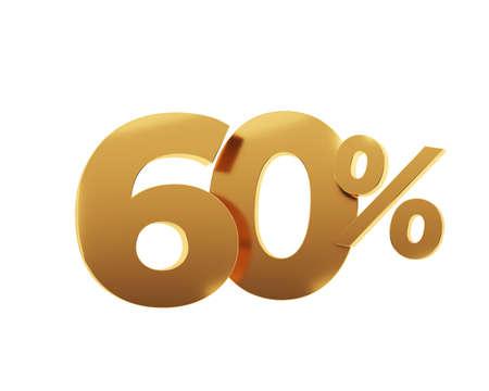 Golden sixty percent on white background. 3d render illustration. Stockfoto