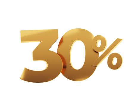Golden thirty percent on white background. 3d render illustration.