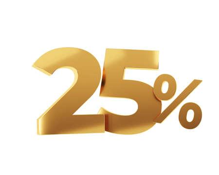 Golden twenty five percent on white background. 3d render illustration.