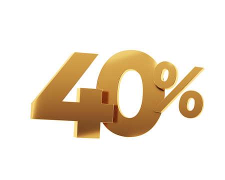 Golden fourty percent on white background. 3d render illustration.