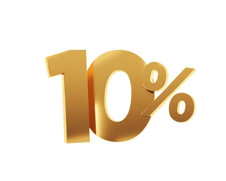 Golden ten percent on white background. 3d render illustration. Stockfoto