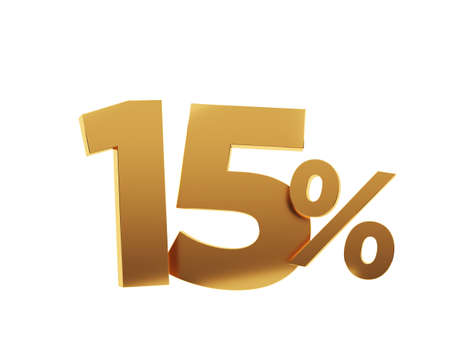 Golden fifteen percent on white background. 3d render illustration.
