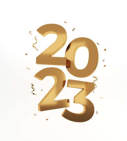 2023 Happy New Year. Golden numbers, 3d rendering. Stockfoto
