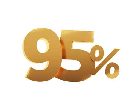 Golden ninety five percent on white background. 3d render illustration.