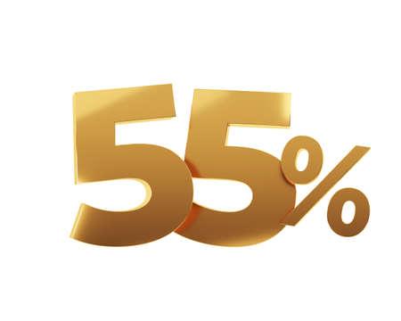 Golden fifty five percent on white background. 3d render illustration.