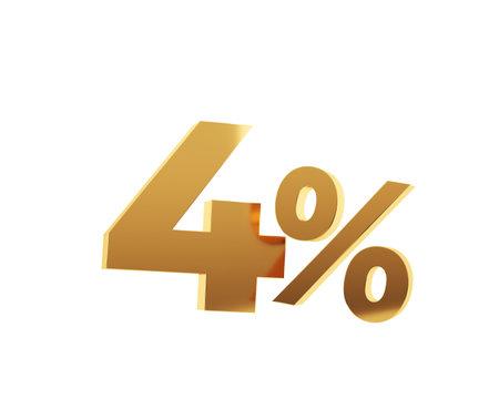 Golden four percent on white background. 3d render illustration.
