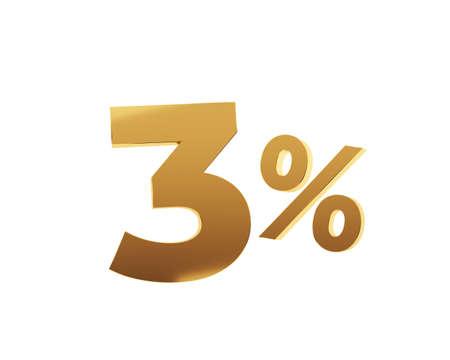 Golden three percent on white background. 3d render illustration.
