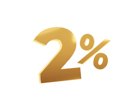Golden two percent on white background. 3d render illustration.