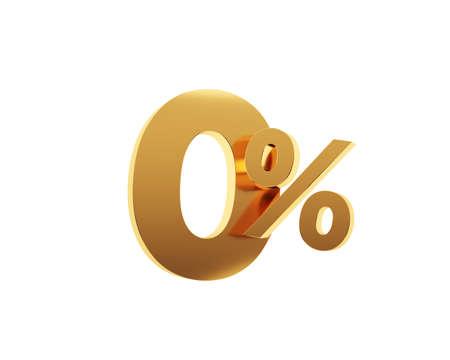 Golden zero percent on white background. 3d render illustration. Stockfoto