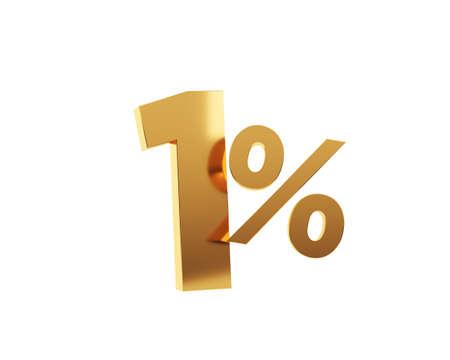 Golden one percent on white background. 3d render illustration. Stockfoto