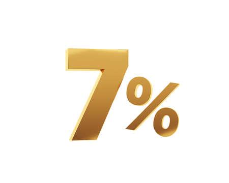 Golden seven percent on white background. 3d render illustration.