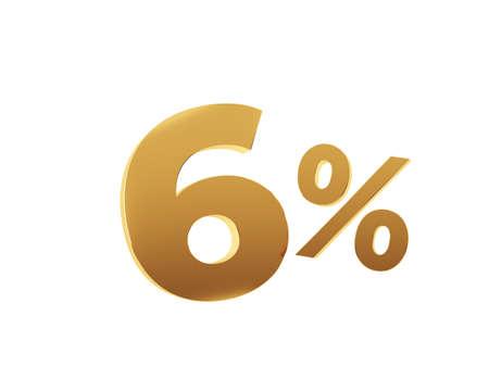 Golden six percent on white background. 3d render illustration. Stockfoto