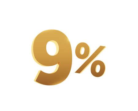Golden nine percent on white background. 3d render illustration.