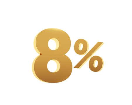 Golden eight percent on white background. 3d render illustration. Stockfoto