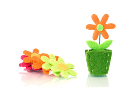 Flower decoration from felt Stock Photo