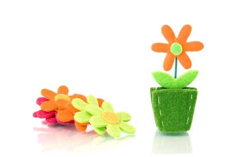 Flower decoration from felt Stock Photo