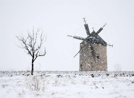 Windmill in blizzard