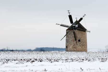 Windmill after blizzard photo