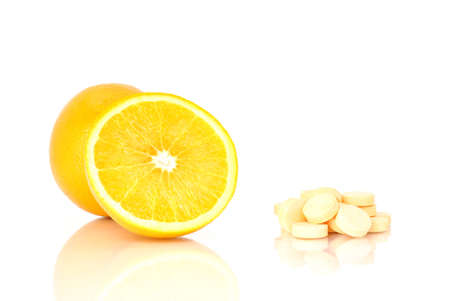 Natural and artificial c vitamin Stock Photo