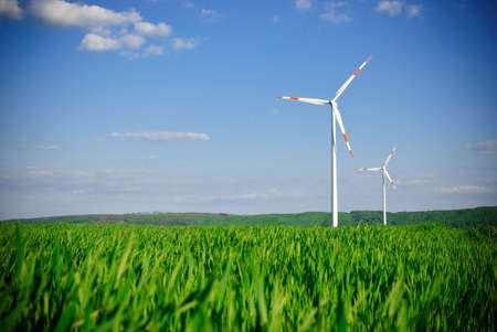 Wind energy turbine power station photo