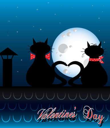 Valentines day background with lovely cats Stock Vector - 11871925