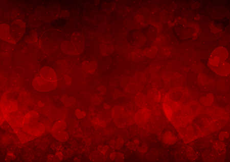 st  valentines day: Red Valentines day background with hearts Stock Photo