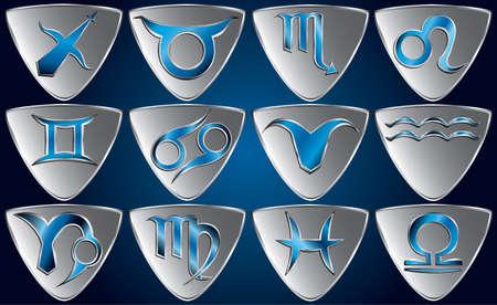capricornio: Conjunto de símbolos del zodiaco Vectores