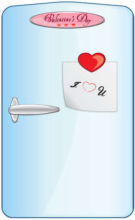 Fridge door with valentines day decorations Vector
