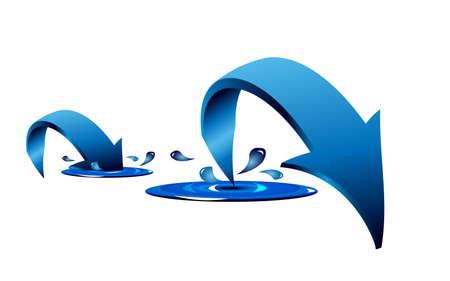Blaue Pfeile mit Splash und Tropfen