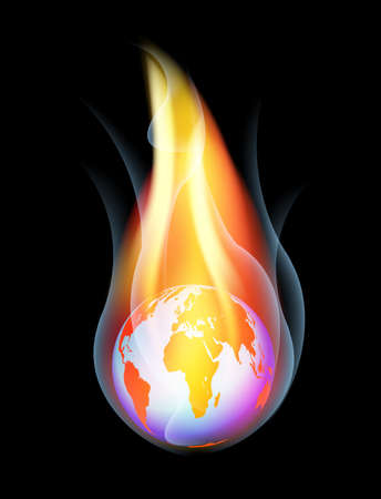 Burning Earth - Vector illustration on black background Stock Vector - 12924350