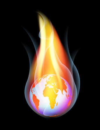 Burning Earth - Vector illustration on black background Stock Vector - 12924350