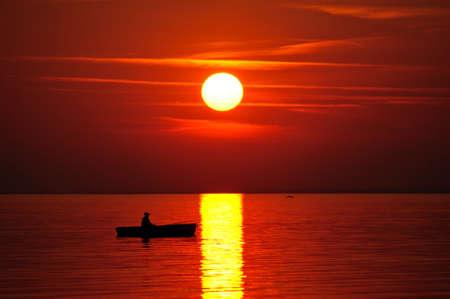 sundown: Red sunset Stock Photo