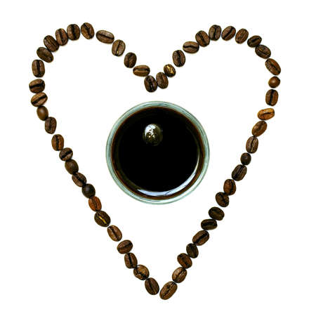 Concept of coffee on white background