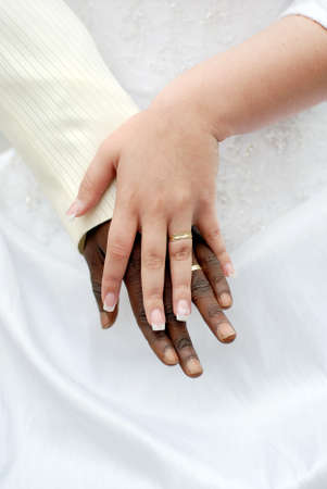 Wedding hands with rings photo