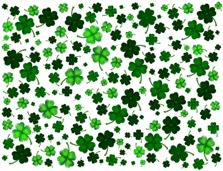 St. Patricks day background with clovers Vector