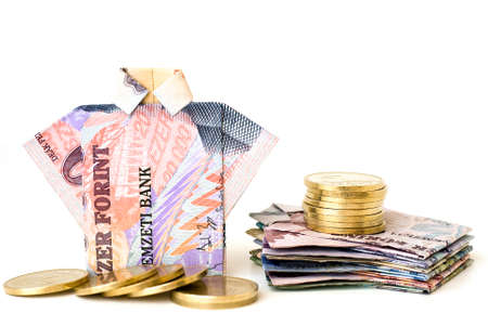 Money concept from paper money and coins Stock Photo