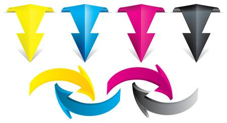 polygraphic: Arrows in cmyk color style Illustration