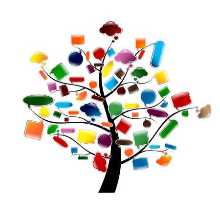 dialogo: Árbol con las burbujas del discurso brillante, ilustración vectorial