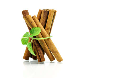 Cinnamon and mint before white background