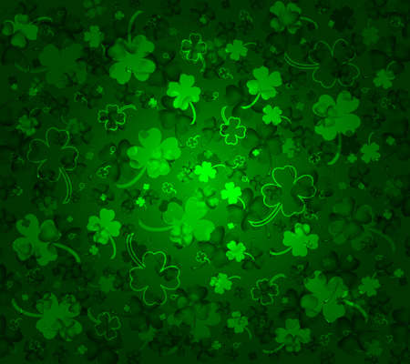 lucky day: St  Patricks day background with clovers Illustration